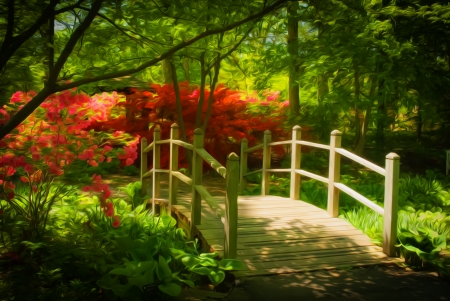 Beautiful manicured shade garden with a wooden bridge surrounded by blooming red rhododendron and azalea shrubs and trees and ferns with oil painting effect Stock Photo