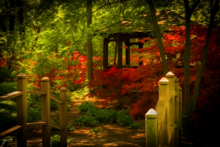 Beautiful manicured shade garden with a wooden bridge leading to a Gazebo surrounded by blooming rhododendron and azalea shrubs and trees and ferns  with oil painting effect Stock Photo