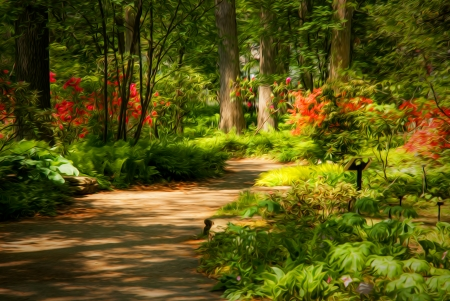 Beautiful manicured garden with a path lined with blooming azalea bushes with oil painting effect