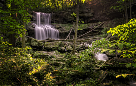 lawrence: Quakertown Falls is a fifty foot waterfall on Falling Spring Creek located just northwest of the town of Hillsville in Mahoning Township, Lawrence County, Pennsylvania  Stock Photo
