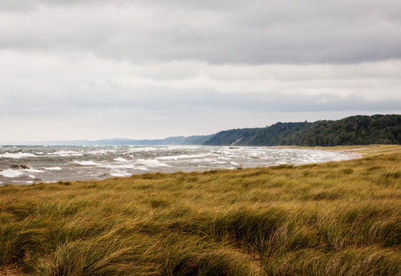 A storm brewing over Lake Michigan with dark storm clouds and winds whipping up waves and blowing the grass.