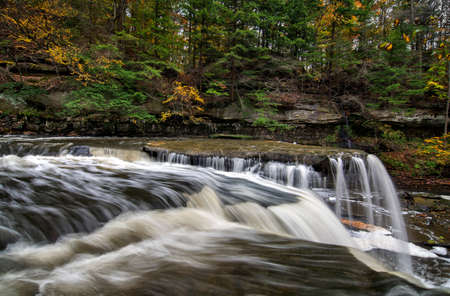 Beautiful autumn scene at The Greaet Falls of Tinkers Creek Gorge in Cleveland Ohio.
