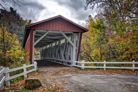 The Everett Road Covered Bridge in the Cuyahoga Valley National Park in Peninsula Ohio.