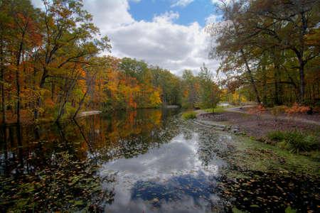 Eine schöne Herbstszene an einem See, der die leuchtenden Farben der Herbstbäume zeigt, die sich im Wasser reflektieren. Standard-Bild - 81835104
