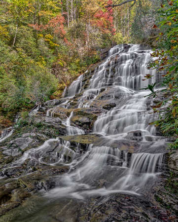 Glen Falls is a scenic series of major waterfalls that totals about 600 feet. Its close to Highlands North Carolina. This is the second section of the falls.