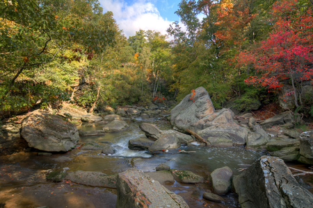 The Rocky River in Berea Ohio during peak fall colors.