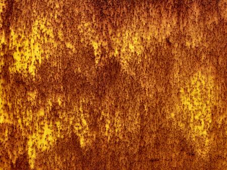 Old rusty metallic yelow wall background, texture, pattern Stock Photo
