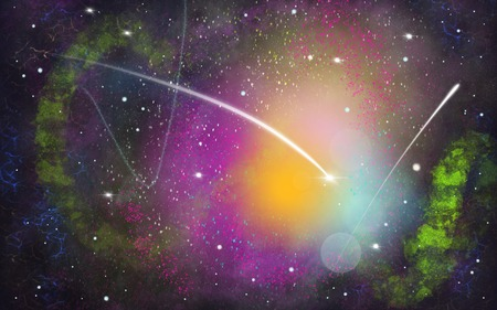 Black, green, purple space illustration background with a bright white comet Stock Photo