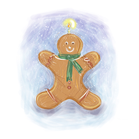 Gingerbread man wearing a green scarf and smiling with a lit candle on top on the white and blue background christams season high resolution illustration Stock Photo