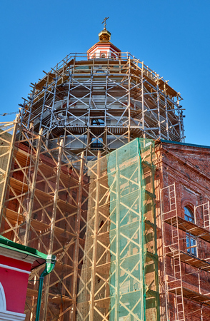 Reconstruction process of the orthodox cathedral using scaffolding