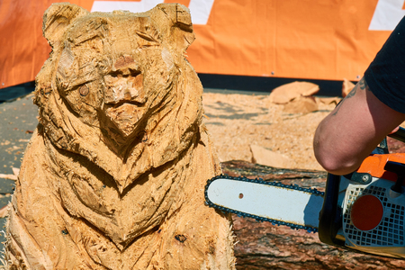 Experienced carpenter making a big wooden bear sculpture with a chainsaw during a local competition close-up Banco de Imagens