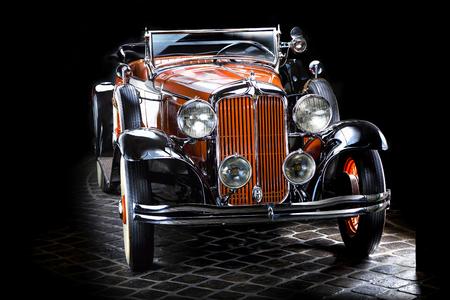 Chrysler CM6 Adler Trumpf Junior brown luxury retro car Cabrio Limousine dark background
