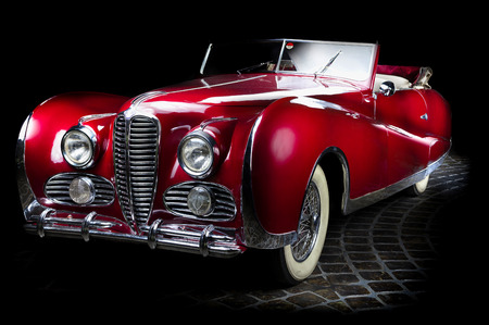 Delahaye 175 Adler Trumpf Junior brown luxury retro car Cabrio Limousine dark background Editöryel