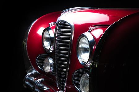 Delahaye 175 retoro car red color dark background Adler Trumpf Junior brown luxury retro car Cabrio Limousine dark background