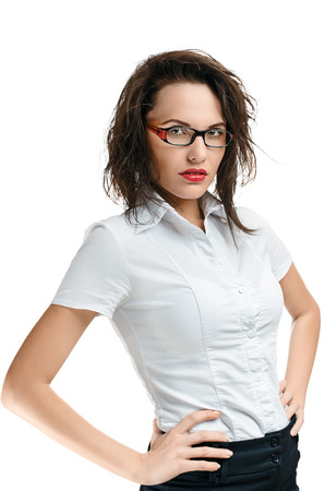 dictatorial: Sexy businesswoman with red lips isolated on white
