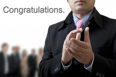 felicitaciones: Felicidades por su �xito en los negocios. Foto de archivo
