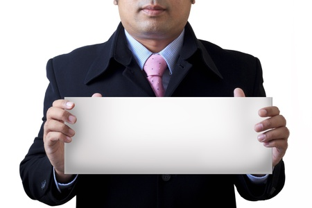 Businessman holding the message board Stock Photo