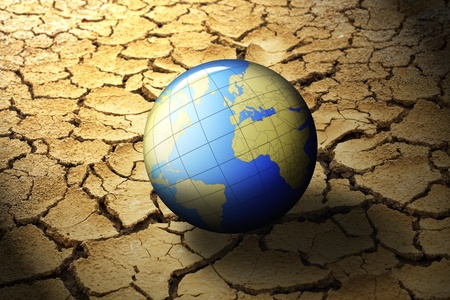 protection of land: earth planet on dry soil