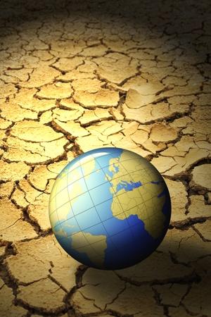 calentamiento global: planeta tierra en suelo seco