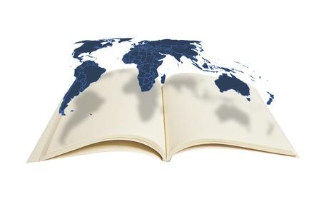 literatura: Mapamundi colgado en el libro: origen de datos: NASA Foto de archivo
