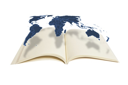 World map hanging on the book : Data source: NASA Stock Photo