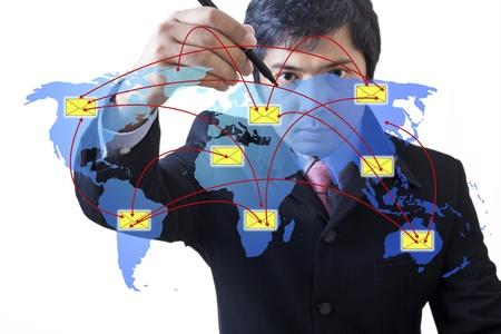 Businessman drawing  social network : Data source: NASA Stock Photo