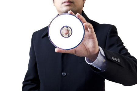 failed strategy: Businessman holding the message DVD