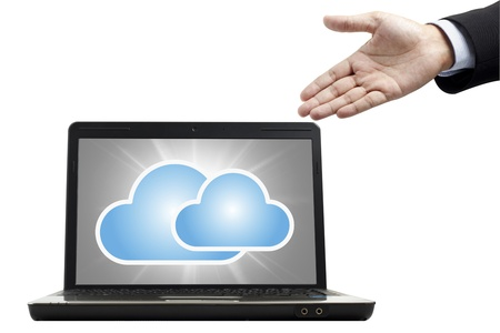 Cloud computing concept in notebook Stock Photo - 13598658