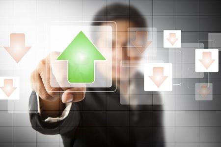 businessman hand touch virtual graph,chart, diagram Stock Photo