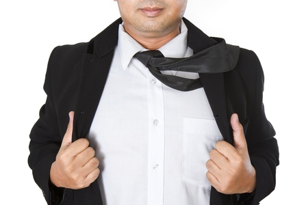 Businessman showing a word underneath his suit photo