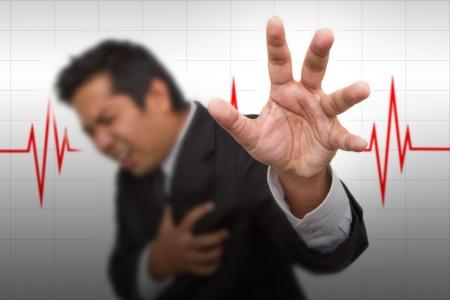 hartaanval: Heart Attack en hart klopt cardiogram achtergrond Stockfoto