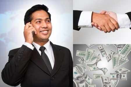 Collage of business partners at work