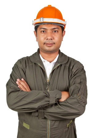 happy young architect portrait with helmet photo