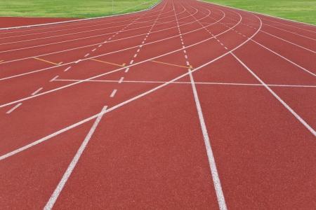 Numbered Running Tracks Of A Stadium Stock Photo