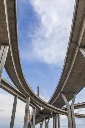 Curve of the suspension bridge with brighten sky view photo