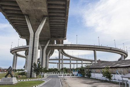 expressway: Curve of the suspension bridge with brighten sky view