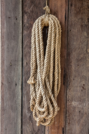 Wooden boards with ship rope.