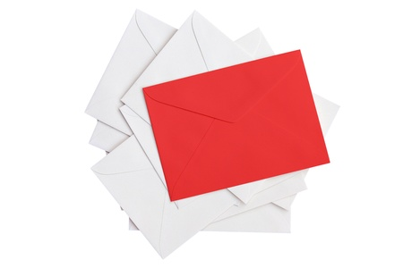 Envelope on  white background with paths