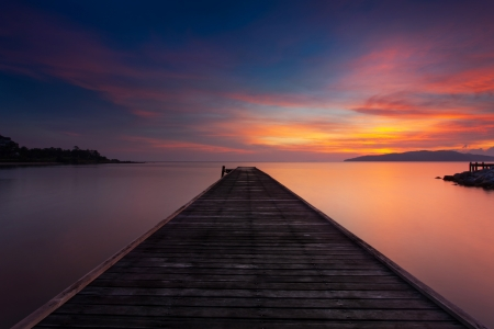 loch: Jetty and cloud.The concept of life there is always tomorrow.