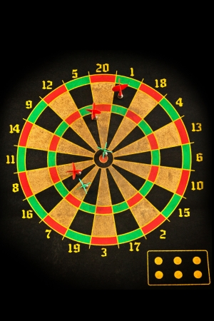 Darts arrows in the target Stock Photo - 18758486