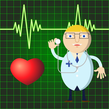 electrocardiogram: doctor with stethoscope on medical background Illustration
