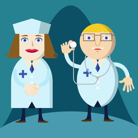 doctor and nurse Illustration