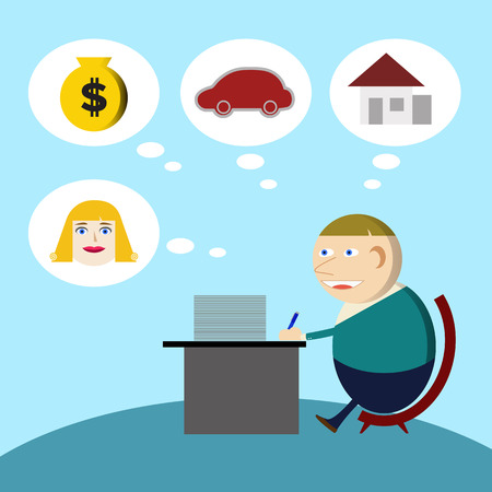Young businessman Working hard for the money Stock Vector - 28068821