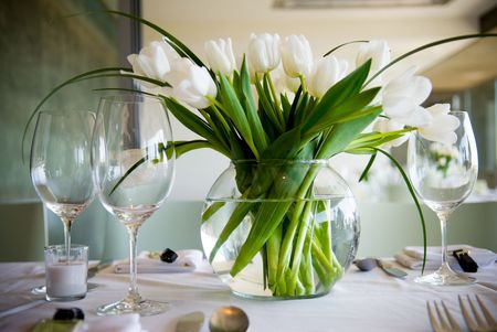 A table setting of Tulips.