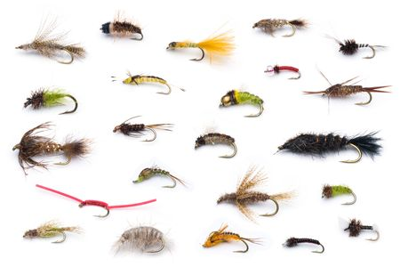 nymphs: A collection of all different types of fly fishing dry flies.