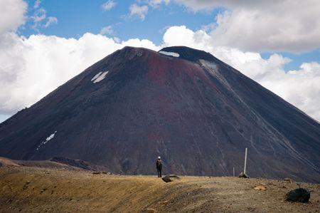 A straight on shot of a hiker in front of Mt. Ngauruhoe in New Zealand