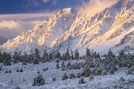 The beautiful mountains after a fresh snow fall.