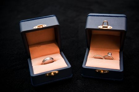 Wedding rings in there jewelery boxs.