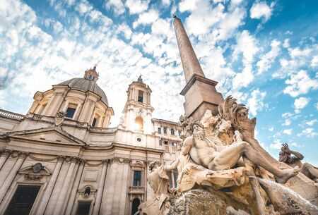 Fountain in Piazza Navona under Sun and Blue Sky, Rome, Italy