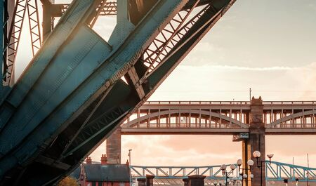 High Level Bridge and Tyne Bridge at Sunset from the River in Newcastle upon Tyne, UK
